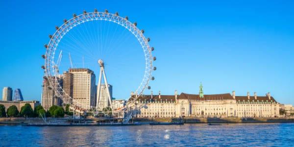 London Eye on riverbank of thames river