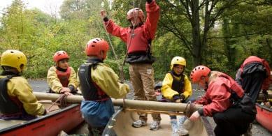 Children kayaking at YHA