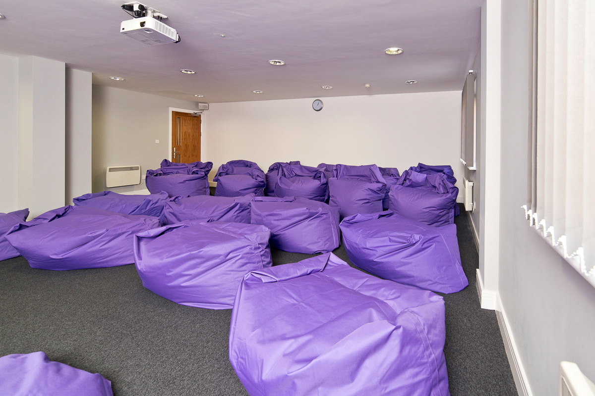 YHA Cardiff Central meeting room with Beanbags