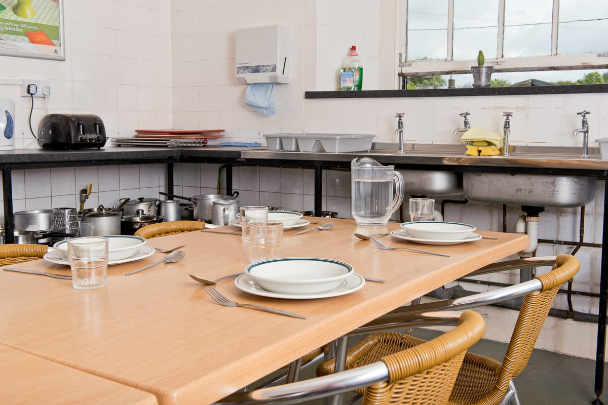 Table setting in kitchen