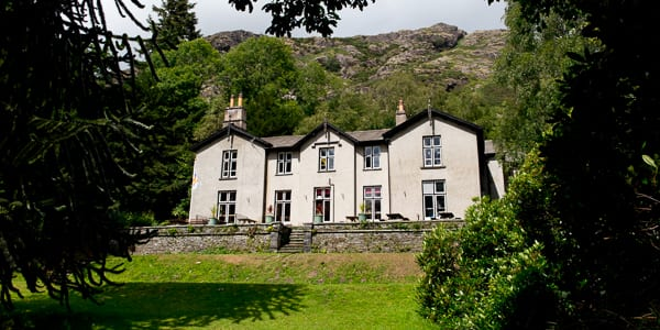 Exterior and garden view at YHA Coniston Holly How