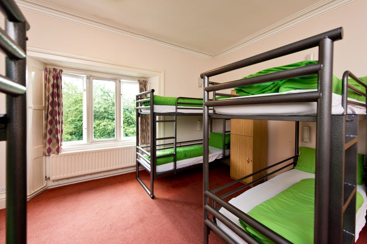 Dorm room with bunk beds