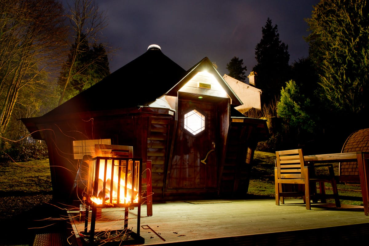 YHA Hawkshead Cabin at Night