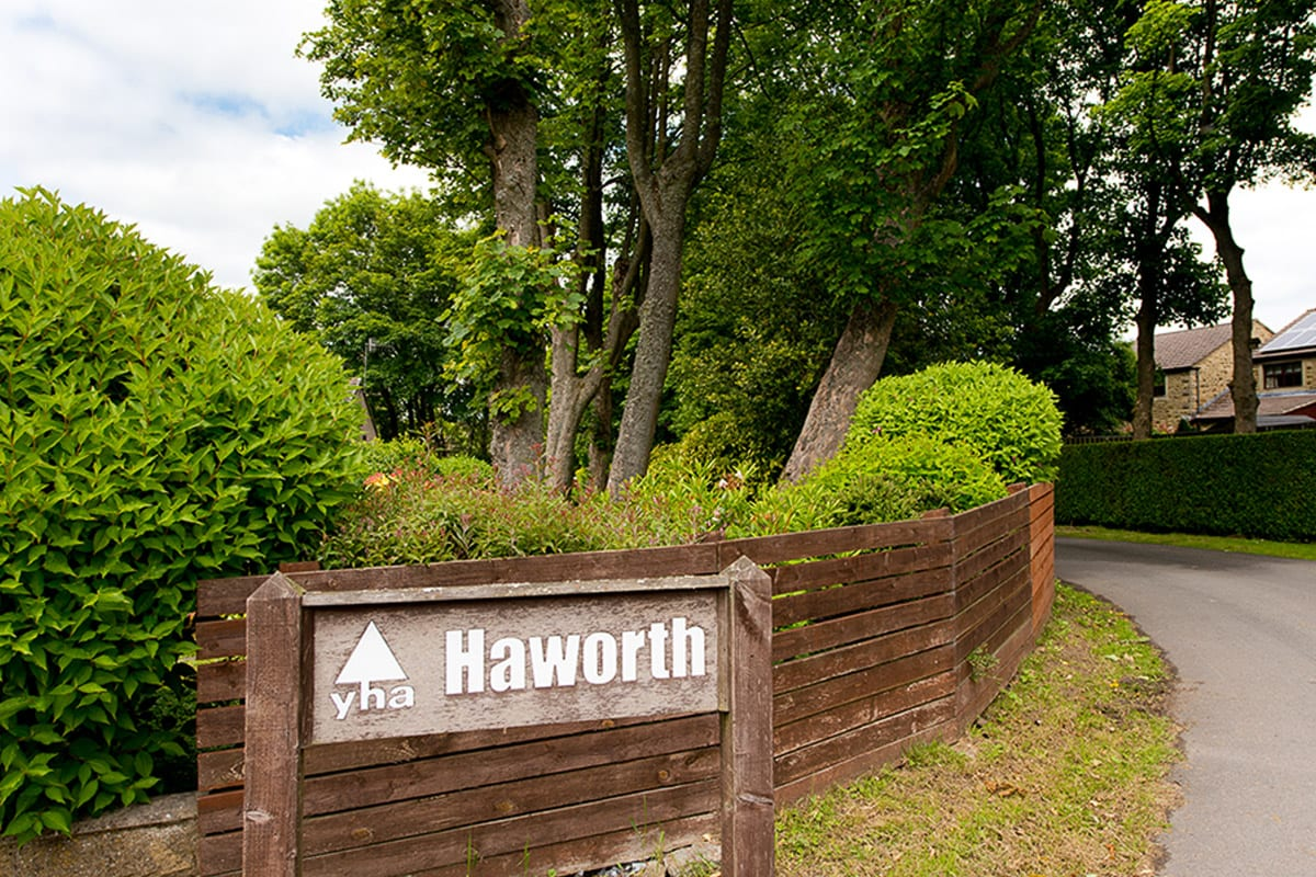 YHA Haworth Welcome Sign