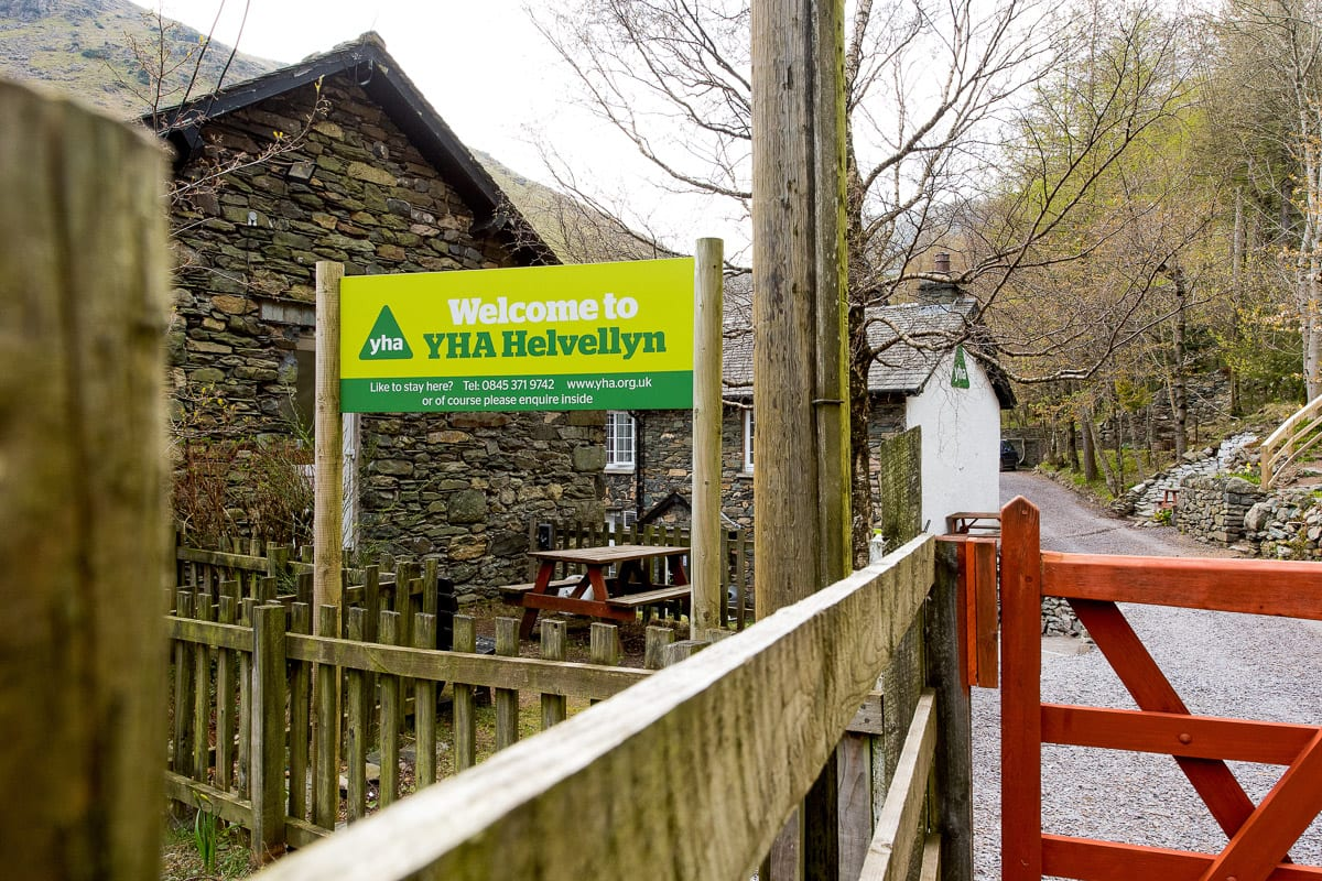 YHA Helvellyn Welcome Sign