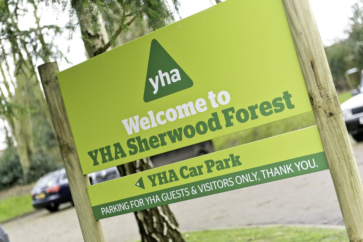 YHA Sherwood Forest Welcome Sign
