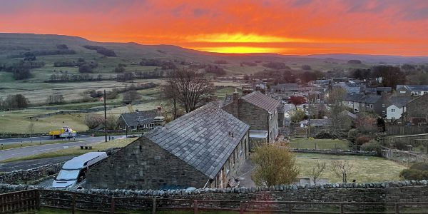 YHA Hawes exterior at sunset