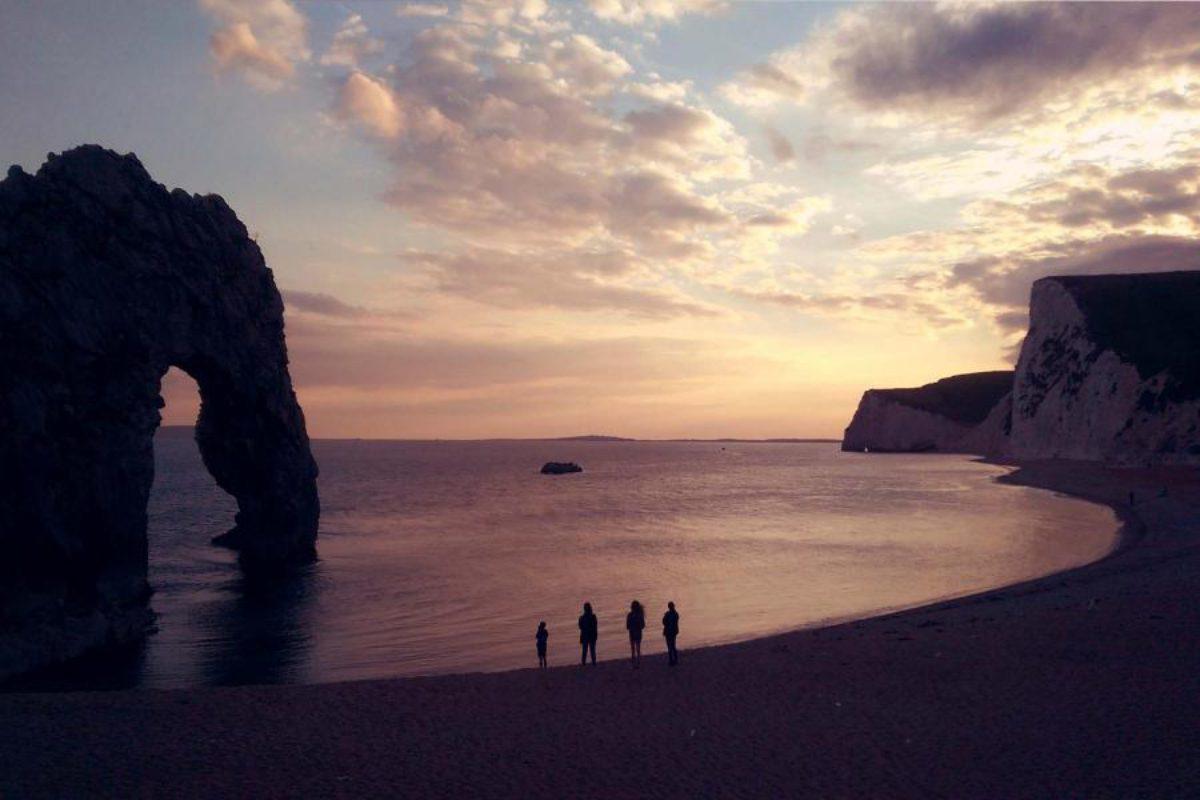 YHA Swanage beach at dusk